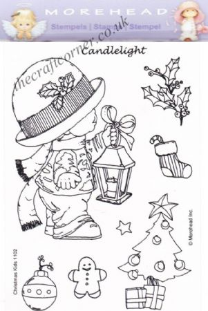 Little Boy With A Candlelight 8 Clear Rubber Stamp Set From Morehead